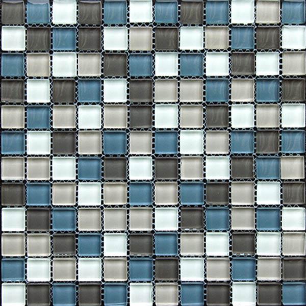 Fliesenoutlet glasmosaik grau blau mix 30x30 cm for Spiegel fliesen 30x30